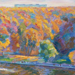 Фрагмент картины 1/3. Москва. Пейзаж. Нескучный сад в октябре