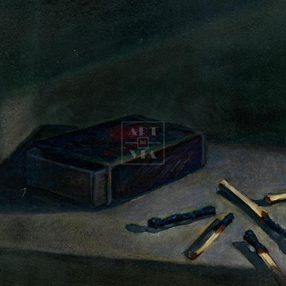 Фрагмент картины 1/3. Натюрморт. Коробок спичек