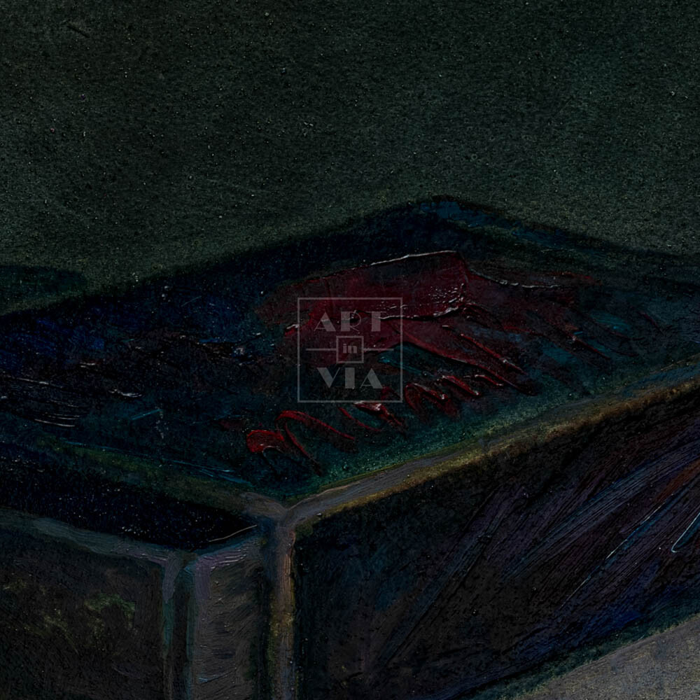 Фрагмент картины 2/3. Натюрморт. Коробок спичек