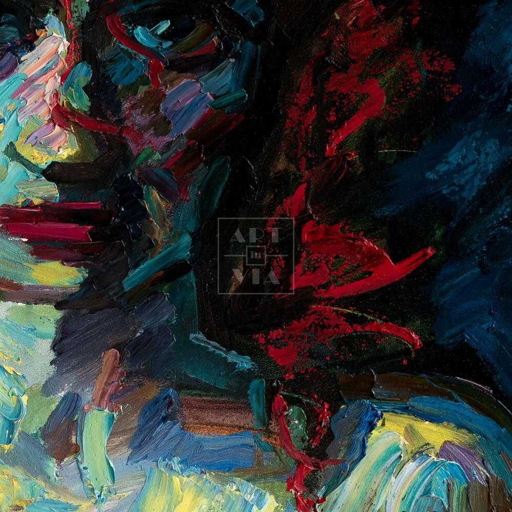 Фрагмент картины 2/3. Ню. Дама в коктейльном платье
