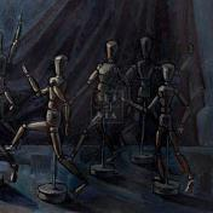Фрагмент картины 1/3. Натюрморт. Марионетки и маска Пушкина