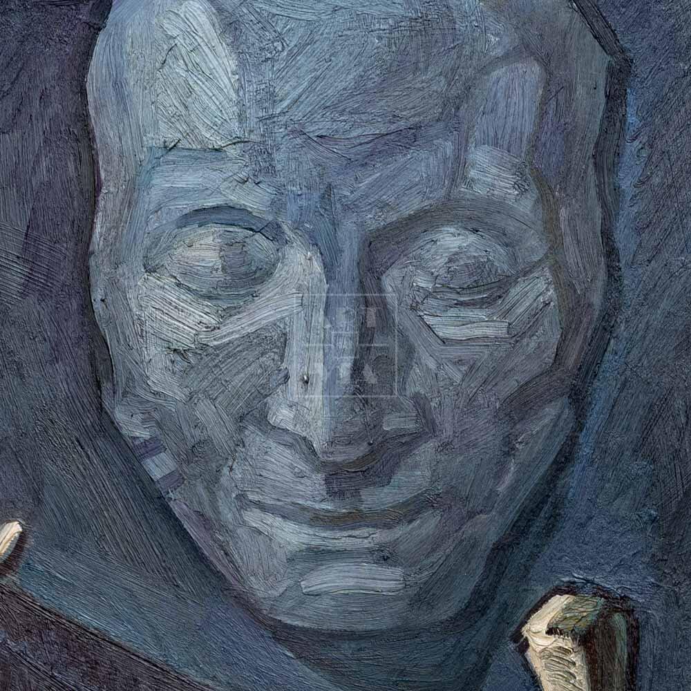 Фрагмент картины 2/3. Натюрморт. Марионетки и маска Пушкина