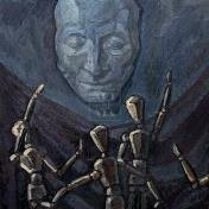 Фрагмент картины 3/3. Натюрморт. Марионетки и маска Пушкина