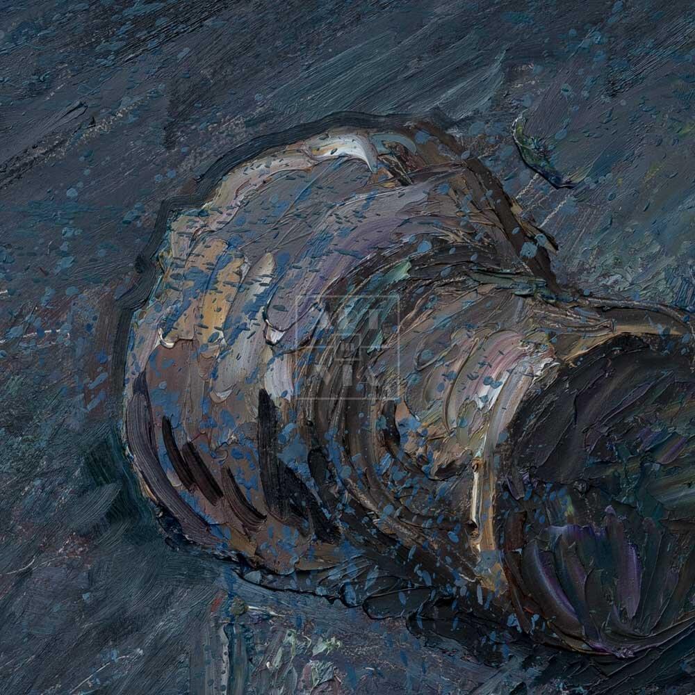 Фрагмент картины 2/3. Натюрморт. Штопор и пробки