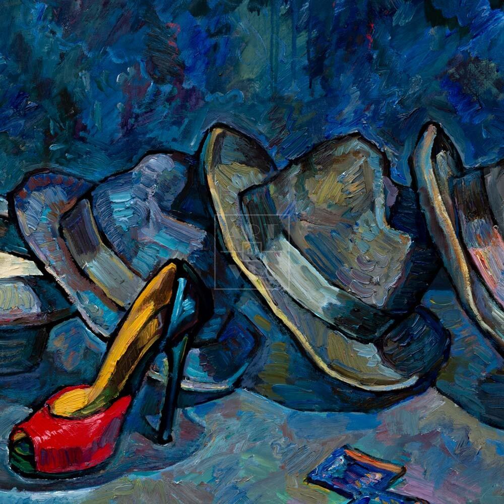 Фрагмент картины 1/3. Натюрморт с красной туфелькой и шляпами