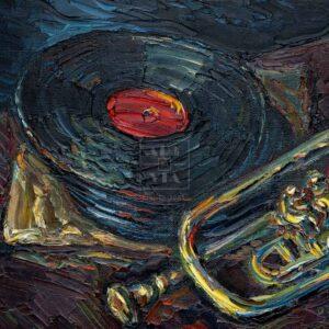 Фрагмент картины 3/3. Труба и пластинки на ломберном столе