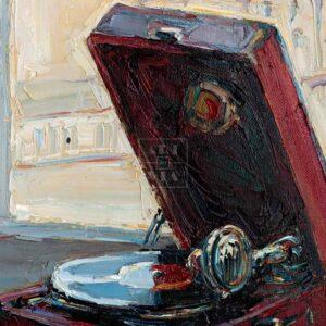 Фрагмент картины 3/3. Натюрморт с красным патефоном
