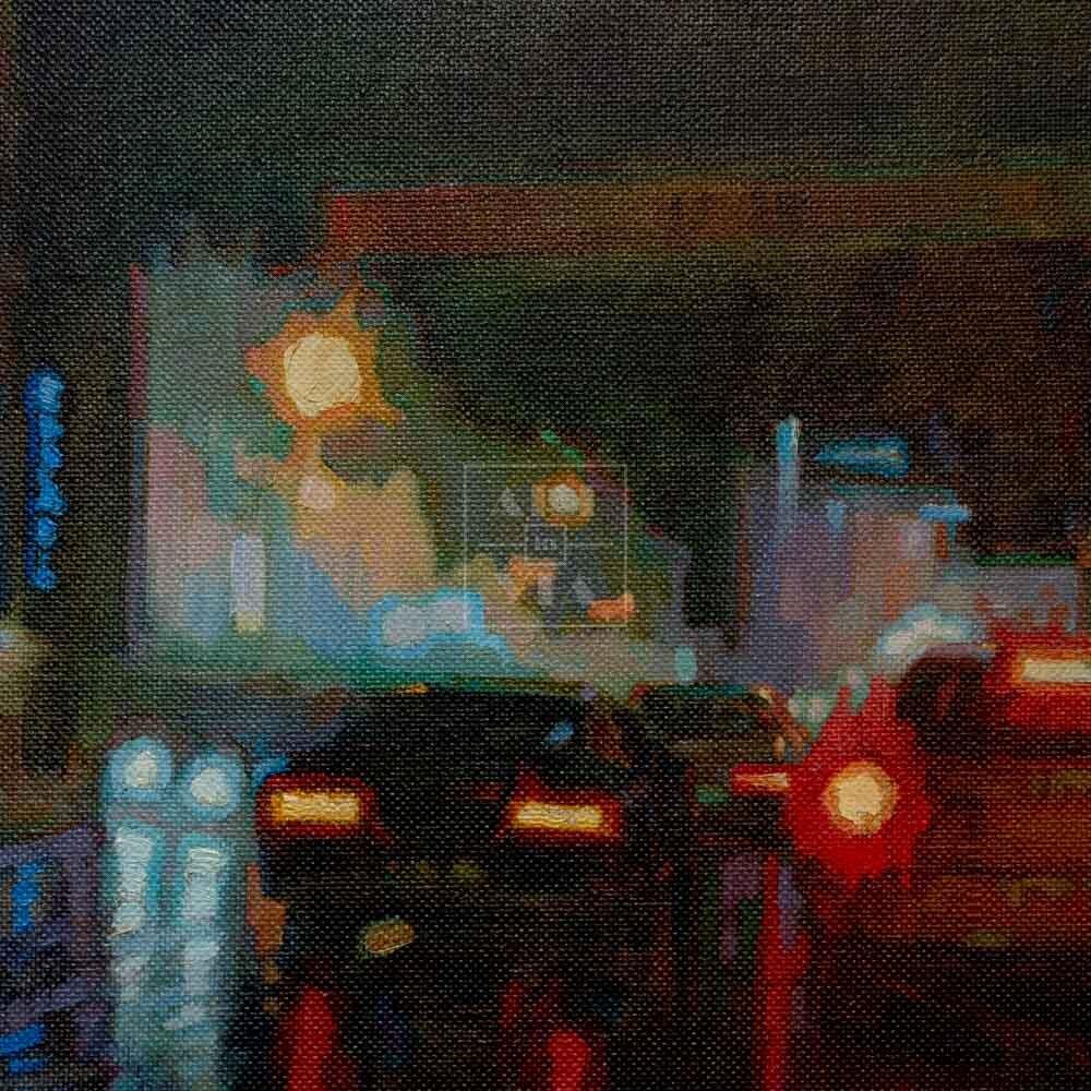 Фрагмент картины 3/3. Пейзаж. № 20. Улица Тверская в 0 часов 30 минут