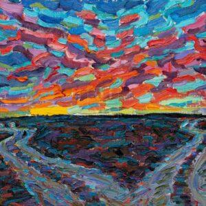 Фрагмент картины 1/3. Пейзаж. Закат (эскиз)
