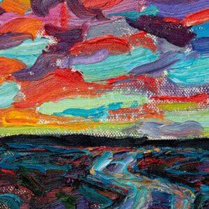 Фрагмент картины 2/3. Пейзаж. Закат (эскиз)