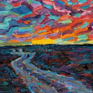 Фрагмент картины 3/3. Пейзаж. Закат (эскиз)