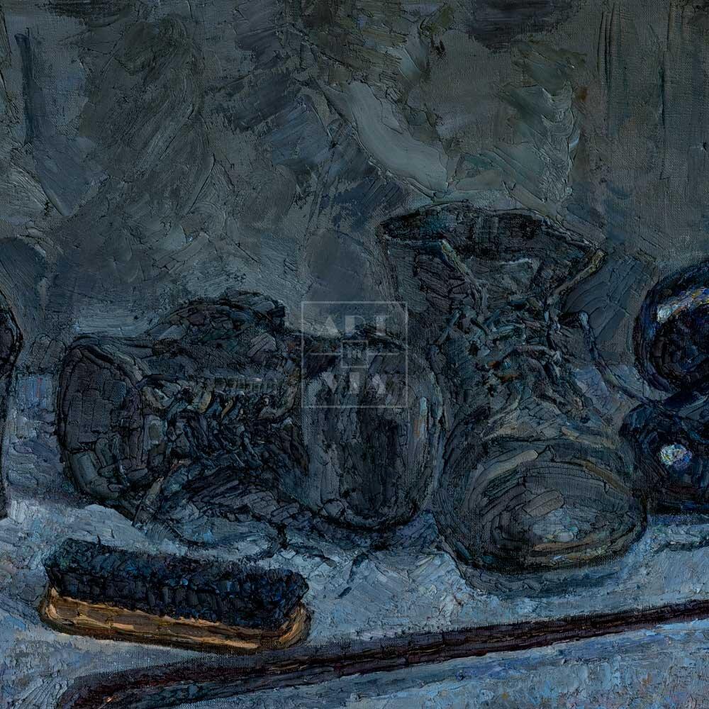 Фрагмент картины 1/3. Натюрморт с обувью