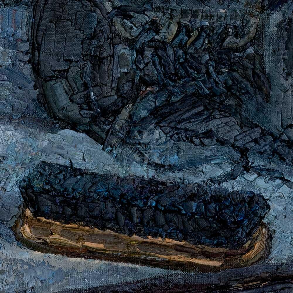 Фрагмент картины 2/3. Натюрморт с обувью