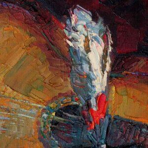 Фрагмент картины 2/3. Натюрморт. Кивера и гитара