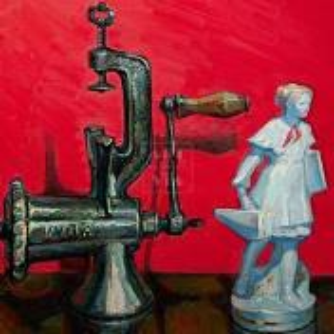 Фрагмент картины 1/3. Натюрморт со статуэткой пионерки