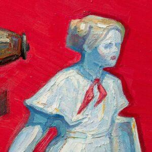 Фрагмент картины 2/3. Натюрморт со статуэткой пионерки