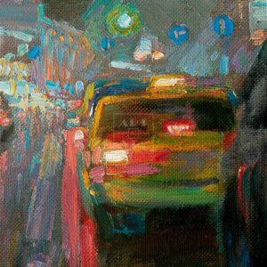 Фрагмент картины 2/3. Пейзаж. Москва. Пушкинская площадь