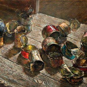 Фрагмент картины 1/3. Натюрморт. Пустые банки на деревянном полу