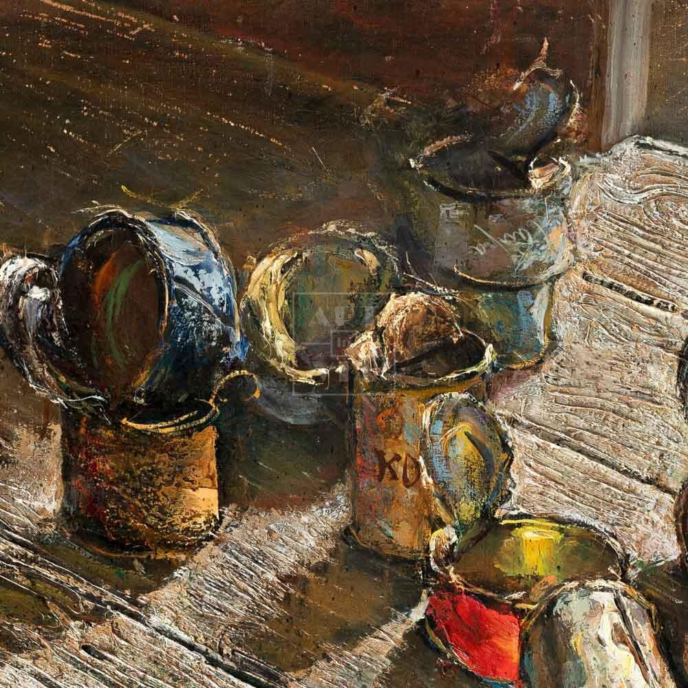 Фрагмент картины 3/3. Натюрморт. Пустые банки на деревянном полу