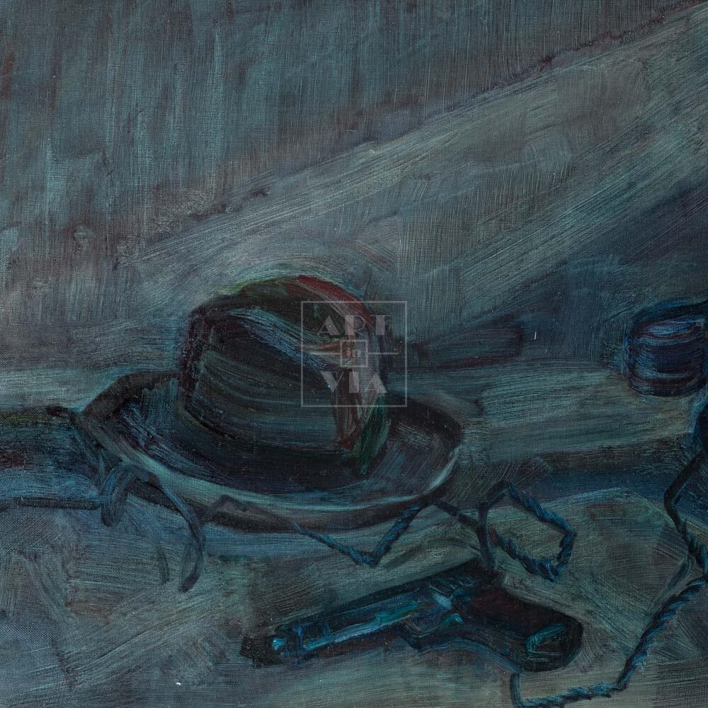 Фрагмент картины 1/3. Натюрморт с телефоном и шляпой