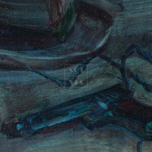 Фрагмент картины 2/3. Натюрморт с телефоном и шляпой