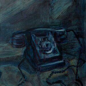 Фрагмент картины 3/3. Натюрморт с телефоном и шляпой