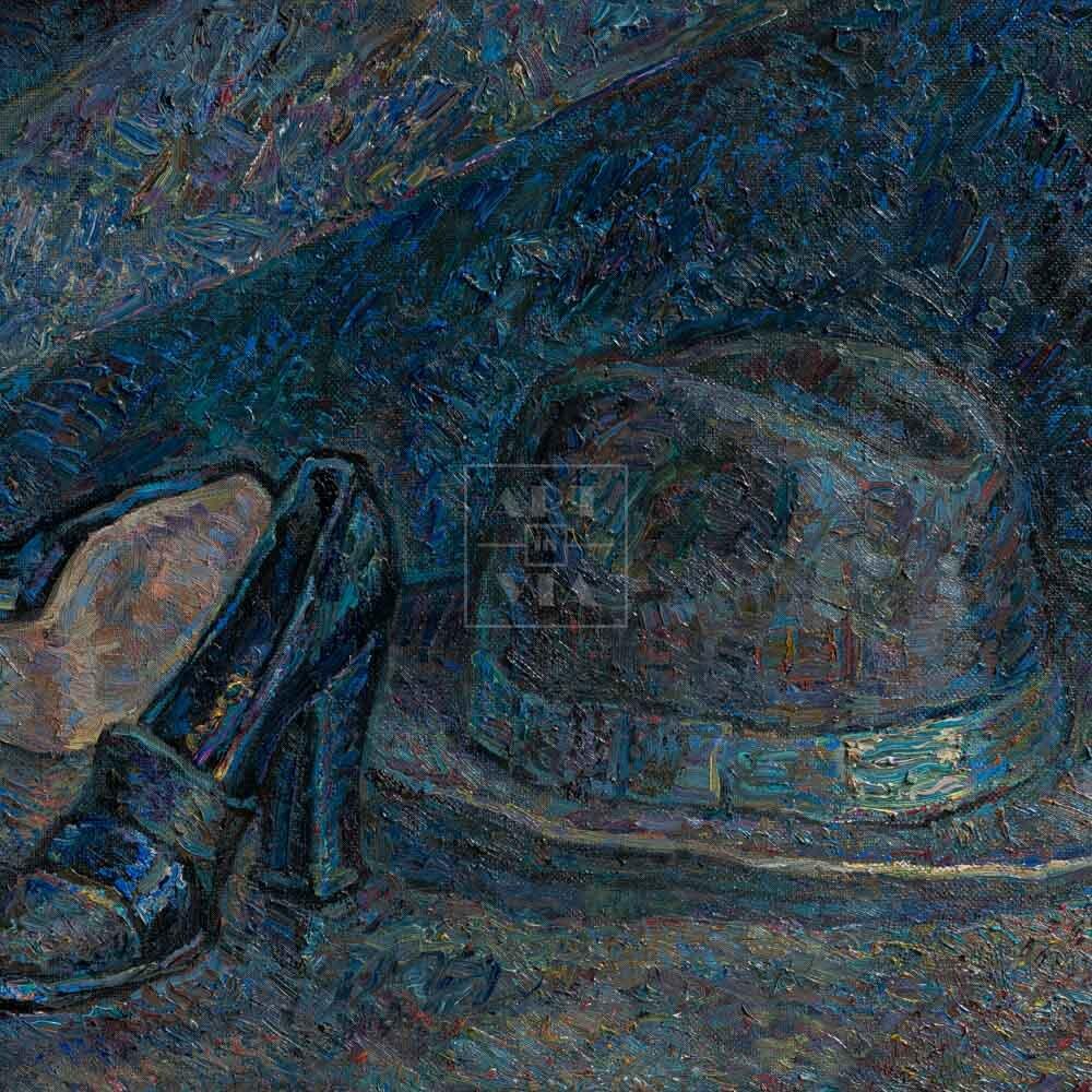Фрагмент картины 1/3. Натюрморт с туфлями и шляпой