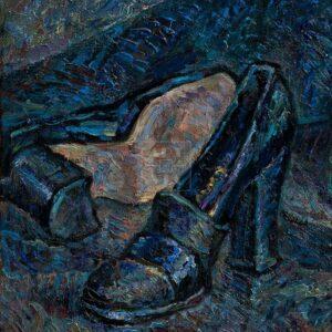 Фрагмент картины 3/3. Натюрморт с туфлями и шляпой