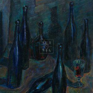 Фрагмент картины 1/3. Натюрморт с бутылками и рюмкой