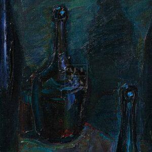 Фрагмент картины 2/3. Натюрморт с бутылками и рюмкой