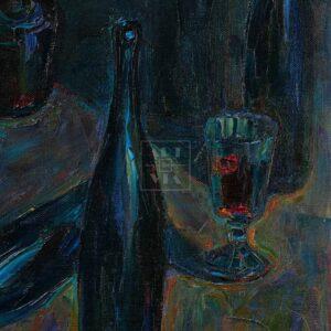 Фрагмент картины 3/3. Натюрморт с бутылками и рюмкой