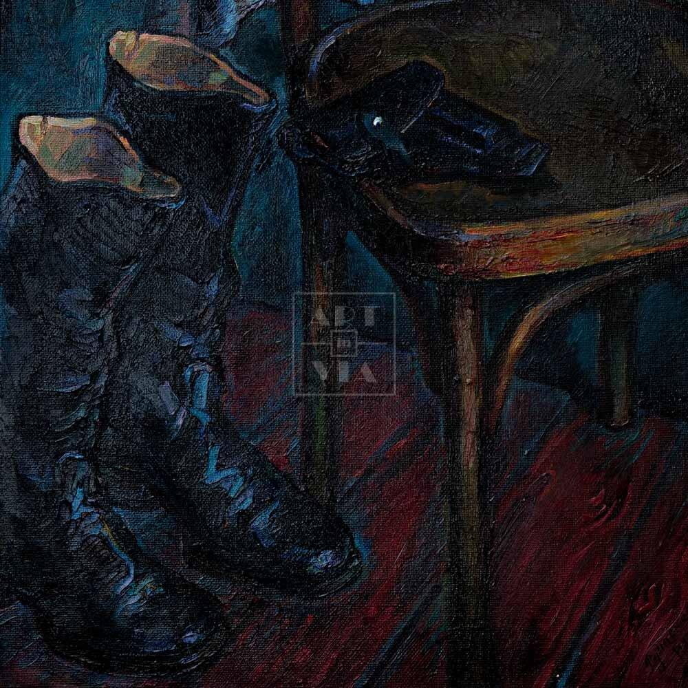 Фрагмент картины 1/3. Натюрморт со стулом и сапогами