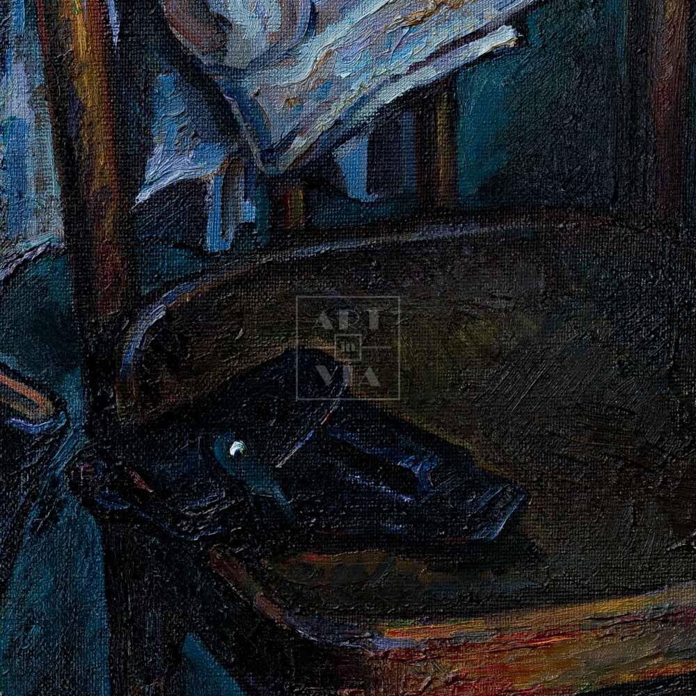 Фрагмент картины 3/3. Натюрморт со стулом и сапогами