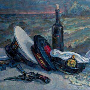 Фрагмент картины 1/3. Натюрморт с фуражками и гранатой
