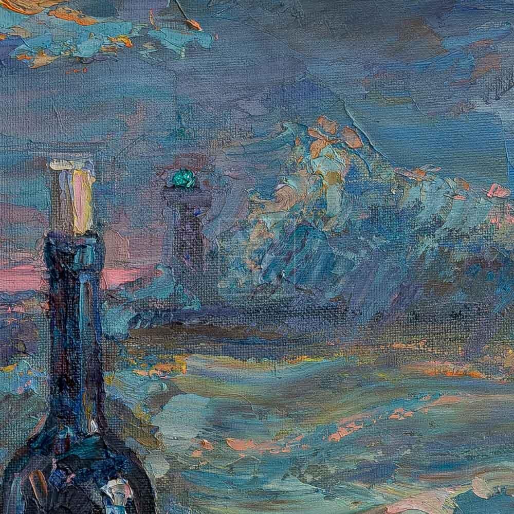 Фрагмент картины 2/3. Натюрморт с фуражками и гранатой