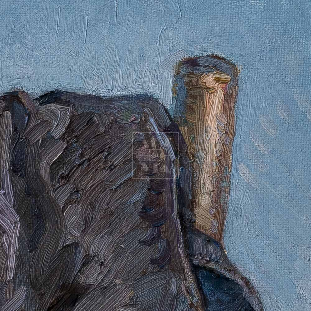 Фрагмент картины 2/3. Натюрморт со стулом и шапкой