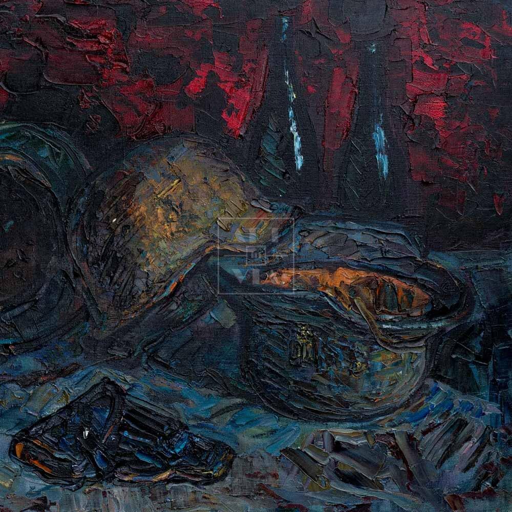 """Фрагмент картины 1/3. Натюрморт. Шлемы танковой группы """"Африка"""""""