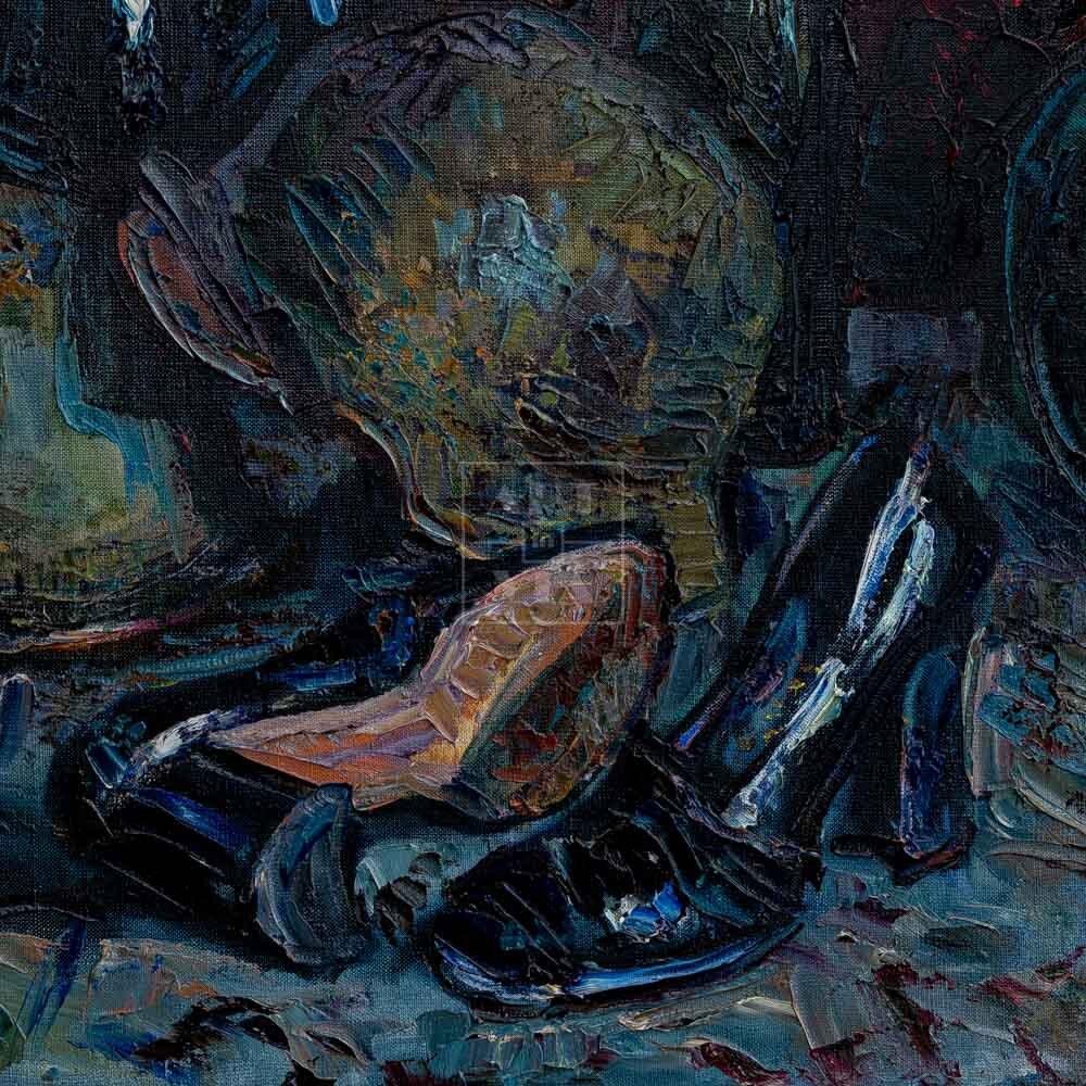 """Фрагмент картины 3/3. Натюрморт. Шлемы танковой группы """"Африка"""""""