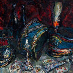 Фрагмент картины 1/3. Натюрморт. Кивера и красная туфелька