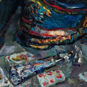 Фрагмент картины 2/3. Натюрморт. Кивера и красная туфелька