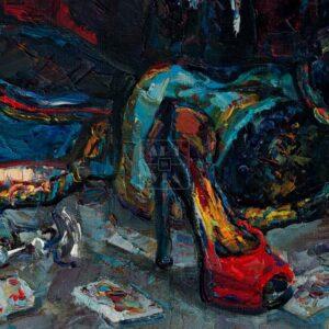 Фрагмент картины 3/3. Натюрморт. Кивера и красная туфелька