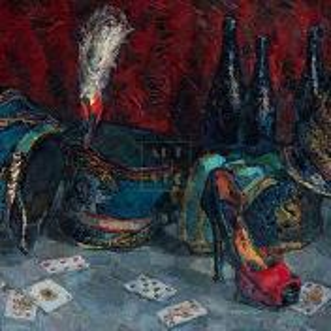 Фрагмент картины 1/3. Натюрморт. Кивера и игральные карты