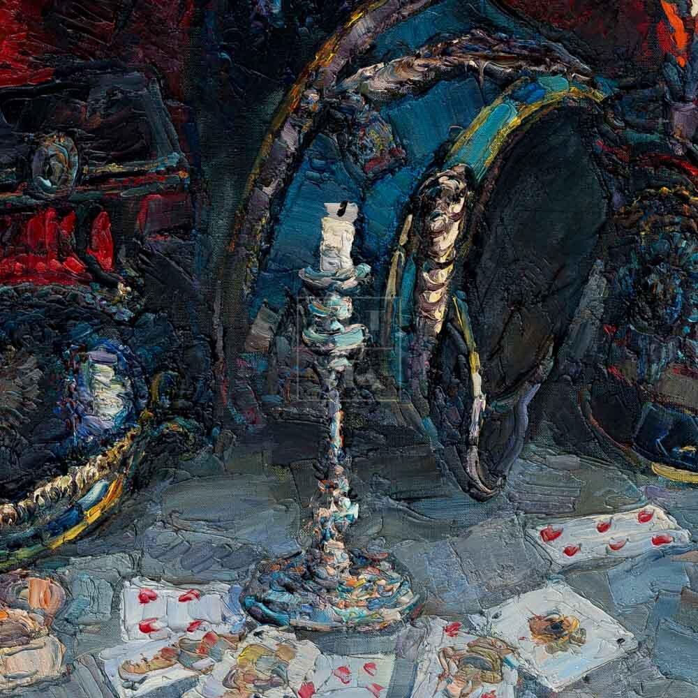 Фрагмент картины 3/3. Натюрморт. Кивера и игральные карты