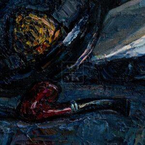 Фрагмент картины 2/3. Натюрморт с фуражками и синей туфелькой