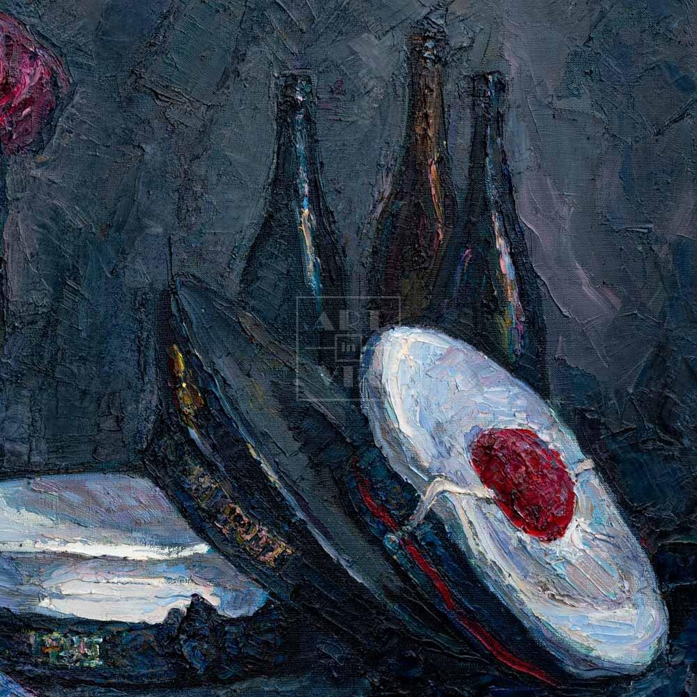 Фрагмент картины 3/3. Натюрморт с фуражками и синей туфелькой