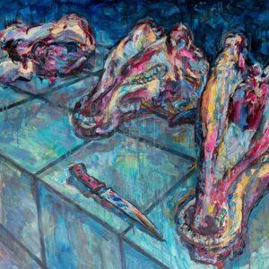 Фрагмент картины 1/3. Натюрморт. Головы на рынке