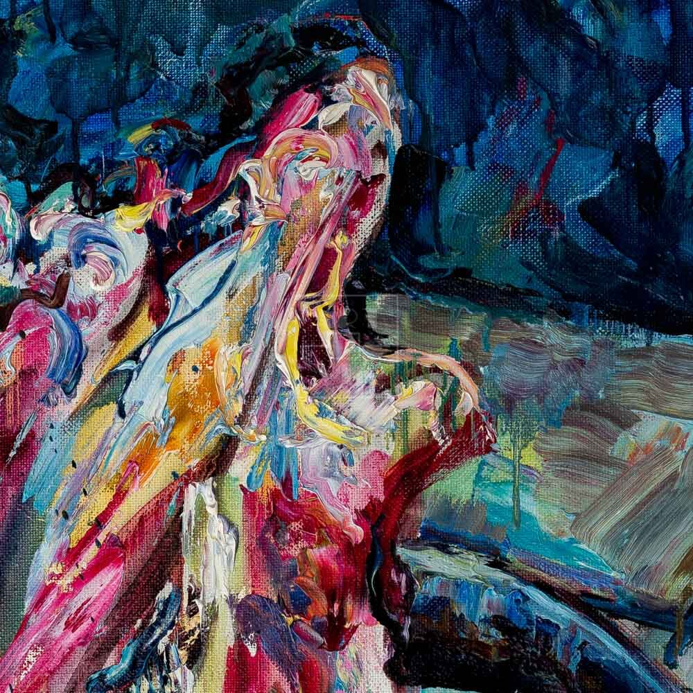 Фрагмент картины 2/3. Натюрморт. Головы на рынке