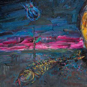 Фрагмент картины 3/3. Натюрморт. Цветок и череп
