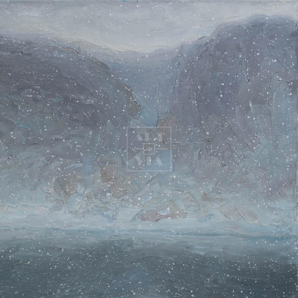 Фрагмент картины 1/3. Москва. Пейзаж. Снежный день в марте