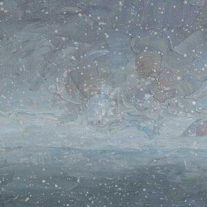 Фрагмент картины 2/3. Москва. Пейзаж. Снежный день в марте